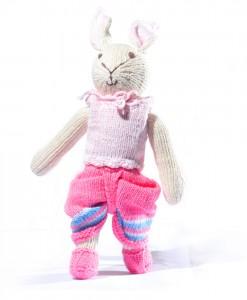 Organic Island Rabbit in Thai loincloth - pink กระต่ายน้อย ชุดไทยโจงกระเบน