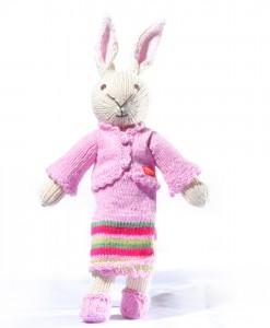 Organic Island Rabbit in Thai Outfit - Pink Stripe  กระต่าย ในชุดไทยสีชมพู