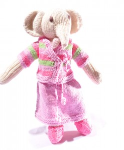 Organic Island White Elephant Top Stripe-pink skirt  ตุ๊กตาช้างขาว เสื้อลายทางนุ่งผ้าชมพู