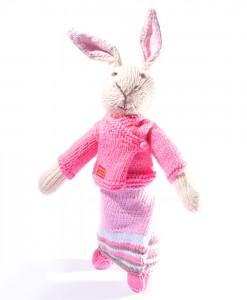 Organic Island Rabbit in Sarong Thai Outfit   -Dark Pink  ตุ๊กตากระต่าย นุ่งผ้าซิ่นสีชมพูเข้ม