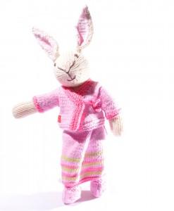 Organic Island Rabbit in Sarong Thai Outfit  -Soft Pink ตุ๊กตากระต่าย ผ้านุ่งสีชมพูอ่อน