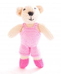 Organic Island Toddler Bear - Pink Jumpsuit ตุ๊กตาหมี ชุดจั้มสูทสีชมพู